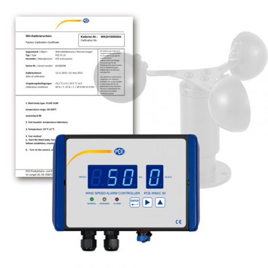 PCE-WSAC 50-120 Szél előrejelző rendszer, ISO kalibrációval