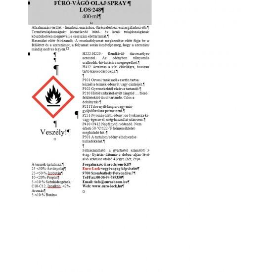 LOS 248 Fúró És Vágóolaj Spray 400Ml