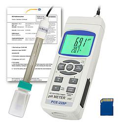 pH-mérő PCE-228, ISO-kalibrációs tanúsítvánnyal, pH-elektródával (PE-03) és hőmérséklet-szondával (T