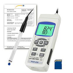 pH-mérő PCE-228HTE, ISO-kalibrációs tanúsítvánnyal, PCE-PH-HTE pH-elektródával és hőmérséklet-szondá