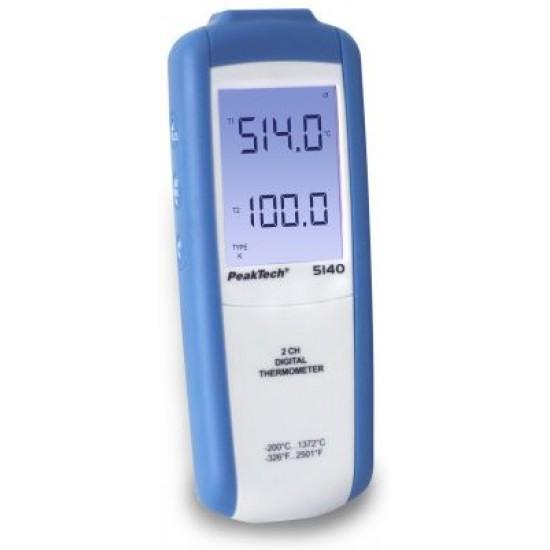PKT-5140 Kétcsatornás hőmérő 3 és ½ jegyű -200… +1372˚C