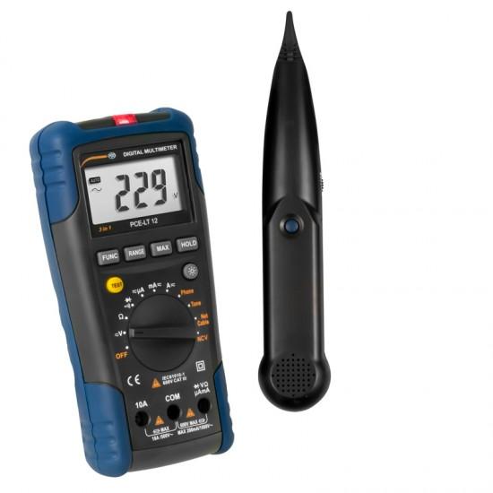 PCE-LT 12 Digitális multiméter Lan-Tester funkcióval