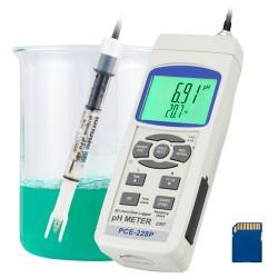 pH-mérő PCE-228P, IJ-44C pH-elektróddal és hőmérséklet-érzékelővel (TP-07)
