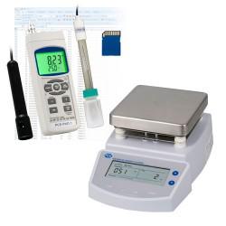 A pH-mérő PCE-PHD 1 és a PCE-MSR 300 mágneses keverőből álló készlet